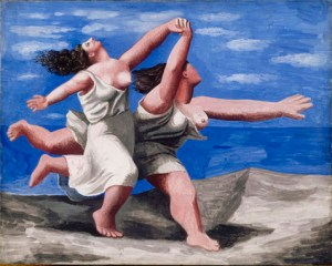 Pablo Picasso (Spanish, 1881-1973): Two Women Running on the Beach (The Race), Summer 1922. Neoclassicism Period. Gouache on plywood, 12-13/16 x 16-3/16 inches (32.5 x 41.1 cm). Musée National Picasso, Paris, France. © Estate of Pablo Picasso / Artist Rights Society (ARS), New York. Photo: Réunion des Musées Nationaux / Art Resource, NY. © This artwork may be protected by copyright. It is posted on the site in accordance with fair use principles.