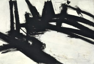 Franz Kline (American; Modernism, Abstract Expressionism; 1910-1962): Untitled, 1957. Oil on canvas, 79 x 110-3/8 inches (200.7 x 280.4 cm). Private Collection. © The Franz Kline Estate / Artists Rights Society (ARS), New York. This artwork may be protected by copyright.