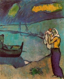 Pablo Picasso (Spanish, 1881-1973): Mother and son on the shore (Mere et fils sur le rivage), 1902. Blue Period. Oil on canvas. 46.3 x 38 cm. © Estate of Pablo Picasso / Artists Rights Society (ARS), New York, NY. © This artwork may be protected by copyright. It is posted on the site in accordance with fair use principles.