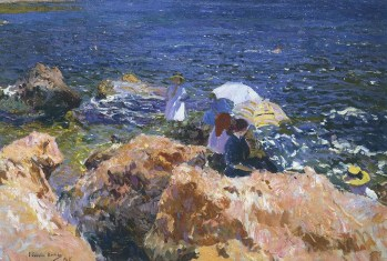 Joaquin Sorolla (Valencian Spanish, Impressionism, 1863-1923): On the Rocks at Javea, 1905. Oil on canvas, 89.7 x 126.5 cm (35-1/3 x 49-4/5 inches). Private Collection.