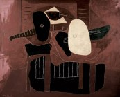 Pablo Picasso (Spanish, Cubism, 1881-1973): Musical Instruments on a Table (Instruments de musique sur une table), 1926. Oil on canvas, 66-1/10 x 79-9/10 inches (168 × 203 cm). Fondation Beyeler, Riehen bei Basel, Switzerland. Photo: Peter Schibli, Basel / © Succession Picasso / Artists Rights Society (ARS), New York. © This artwork may be protected by copyright. It is posted on the site in accordance with fair use principles.