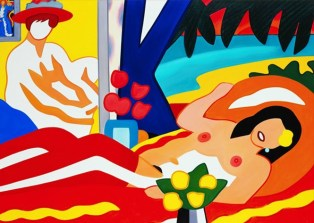Tom Wesselmann (American; Pop Art, Assemblage; 1931-2004): Sunset Nude with Wesselmann, 2003. Oil on canvas, 75 x 105 inches. © The Estate of Tom Wesselmann.