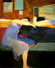 Richard Diebenkorn (American, Bay Area Figurative Movement, 1922–1993): Sleeping Woman, 1961. Oil on canvas, 70 x 58 inches. Kalamazoo Institute of Arts, Kalamazoo, Michigan, USA. © Richard Diebenkorn Foundation. © This artwork may be protected by copyright. It is posted on the site in accordance with fair use principles.