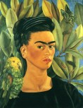 Frida Kahlo (Mexican, 1907-1954): Self-Portrait with Bonito (Autorretrato con Bonito), 1941. Oil on canvas, 55 x 43.4 cm. Private Collection. © Frida Kahlo.