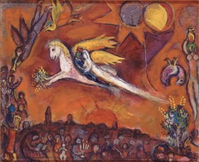 Marc Chagall (French, born Russia — present-day Belarus; 1887-1985): Song of Songs IV (Le Cantique des Cantiques IV), 1958. Oil on canvas, 50 x 61 cm. Musée National Message Biblique Marc Chagall, Nice, France. © Artists Rights Society (ARS), New York / ADAGP, Paris © This artwork may be protected by copyright. It is posted on the site in accordance with fair use principles.