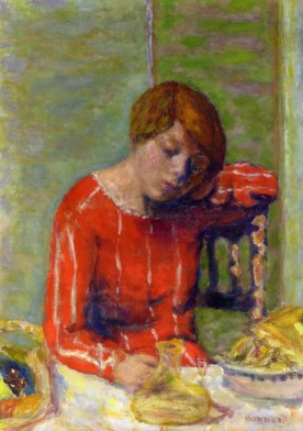 Pierre Bonnard (French, 1867-1947): Striped Blouse, c. 1922. Oil on canvas, 63.8 x 45.1 cm. Private Collection. © Artists Rights Society (ARS), New York/ADAGP, Paris. © This artwork may be protected by copyright. It is posted on the site in accordance with fair use principles.