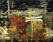 Peter Doig (Scottish, b. 1959): Swamped, 1990. Oil on canvas, 77-1/2 x 95 inches. Private Collection. © Peter Doig.