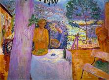 Pierre Bonnard (French; Les Nabis Founding Member, Post-Impressionism; 1867-1947): The Terrace at Vernonnet, 1939. Oil on canvas; 58-1/4 x 76-3/4 inches (148 x 194.9 cm). The Metropolitan Museum of Art, New York, NY, USA. © Artists Rights Society (ARS), New York/ADAGP, Paris. Image: © The Metropolitan Museum of Art. © Artists Rights Society (ARS), New York/ADAGP, Paris. Image: © The Metropolitan Museum of Art. © This artwork may be protected by copyright. It is posted on the site in accordance with fair use principles.