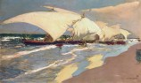 Joaquin Sorolla (Valencian Spanish, Impressionism, 1863-1923): Valencian Boats, 1908. Oil on canvas.