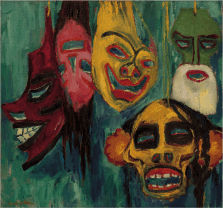 Emil Nolde (German, 1867-1956): Masks, 1911. Nelson Atkins Museum of Art, Kansas City, Missouri.