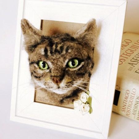 Personalisiertes Haustier Porträt gefilzt Figur Katze Hund