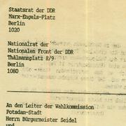 Einspruch gegen die Gültigkeit der Kommnualwahlen 1989