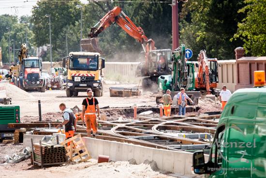 Magdeburg, Magdeburg 2025, Ottostadt, Baustelle, Wiener Straße, Straßenbahn, MVB, Kreuzung, Leipziger Straße, Gleise, Gleisarbeiten –  Foto Wenzel-Oschington.de