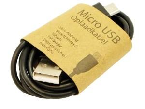 GrabNGo Laadkabel Micro USB Zwart