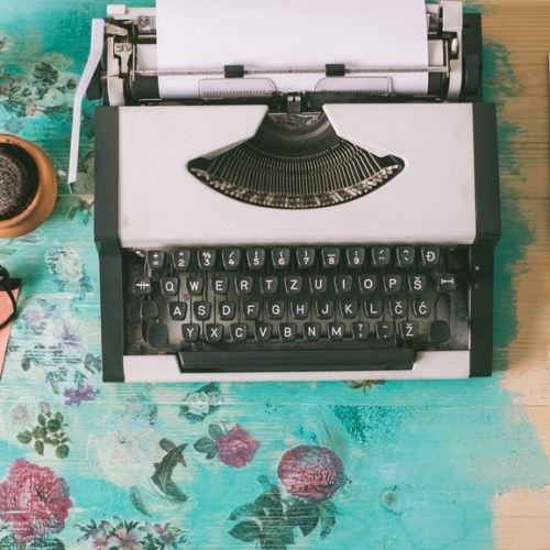 Typewriter Glasses Mug Flowers Desk