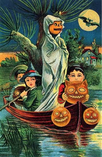 Ghostly Boat Trip vintage card