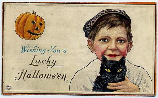 Lucky Halloween - vintage card