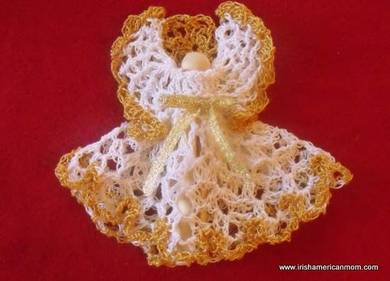 Crochet Christmas Angel - White and Gold