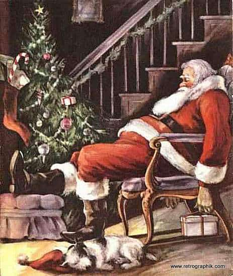 Vintage Santa By The Fire