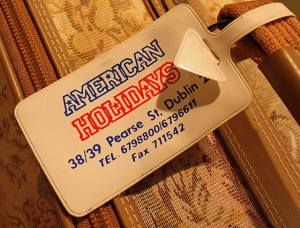 The original luggage tag from the Dublin travel agency where I booked my flight to America.