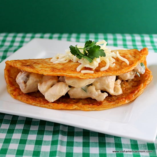 Irish Boxty stuffed with creamy chicken and mushroom filling