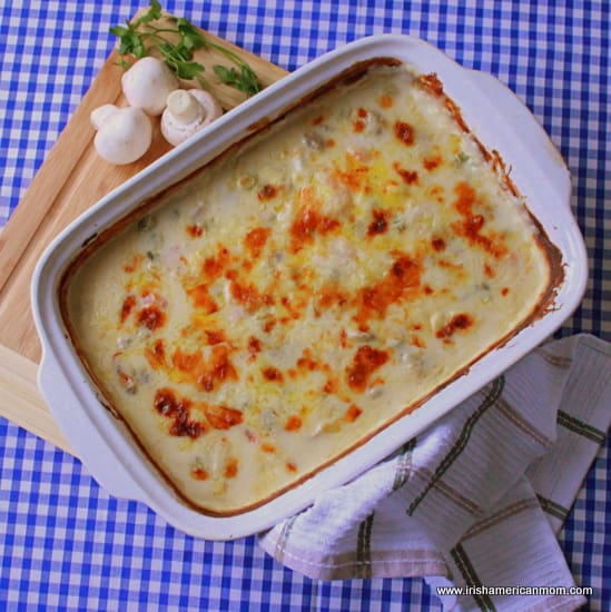 Casserole of cod and prawn cheese bake