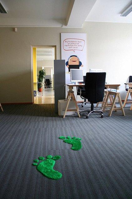 Green footprints in classroom