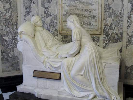 Mother and son sculpture