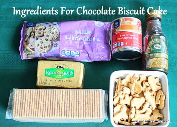 Ingredients for Irish Chocolate Biscuit Cake