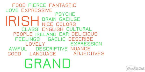 the irish love of adjectives irish american mom worditout word cloud 1015325