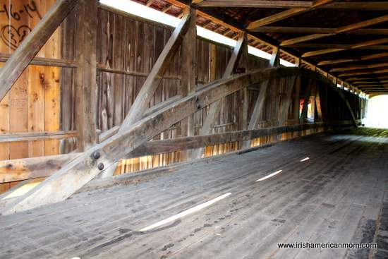 Interior structure of a wooden covered bridge