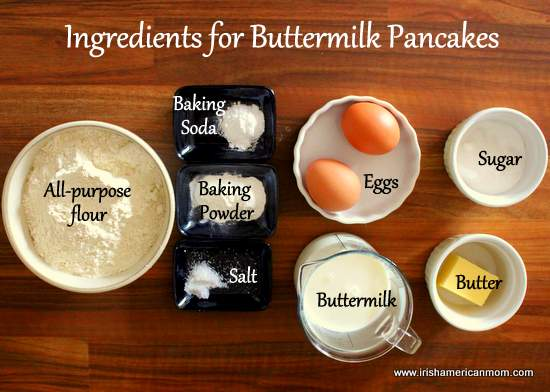 Ingredients for Buttermilk Pancakes - Irish recipe by Irish American Mom