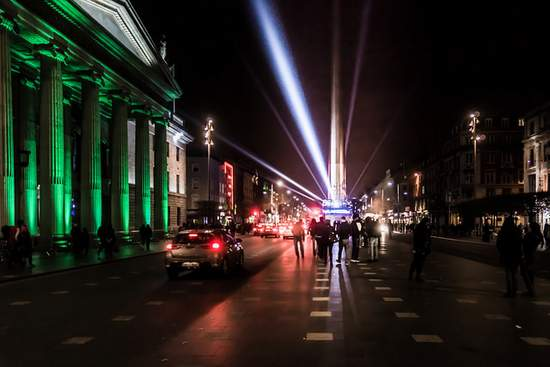 The GPO, O'Connell Street, Dublin illuminated in green for St. Patrick's Day 2015