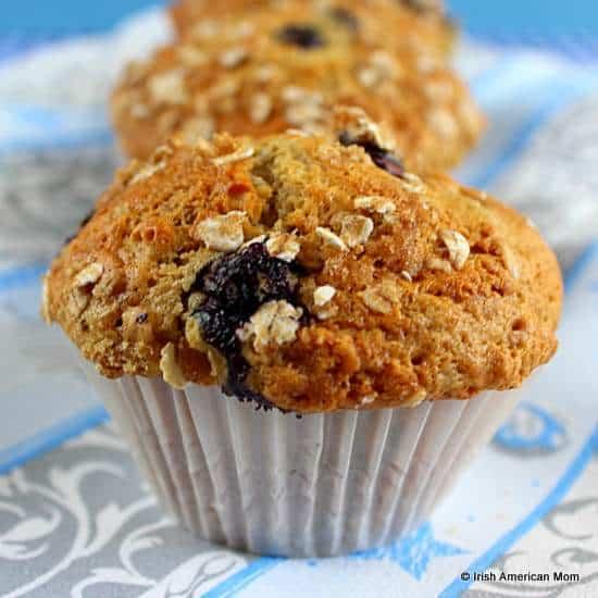 Blueberry banana oatmeal muffin