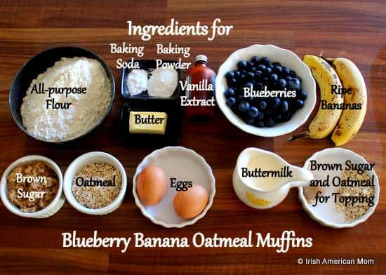 Ingredients for Blueberry Banana Oatmeal Muffins