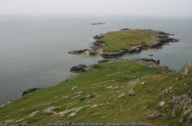 Furrowed fields in Braadillaun near Lettermore in County Galway