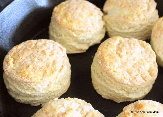 Buttermilk scones or biscuits cooked in a cast iron skillet