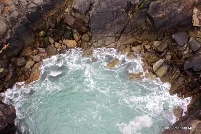 Atlantic waters churning below the Mizen Bridge
