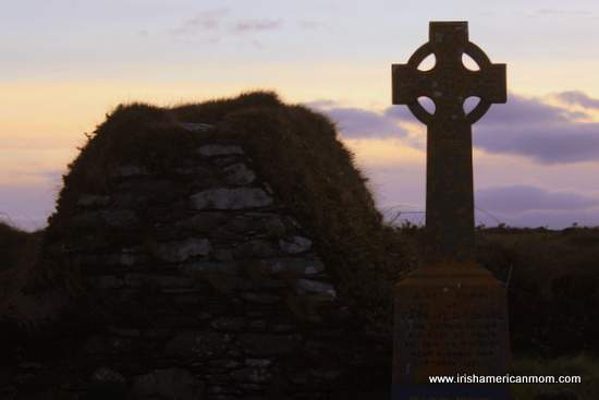 celtic-cross-and-crypt-at-myross-graveyard-west-cork-ireland-at-twilight