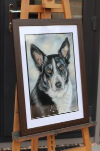 pastel pet portrait framed