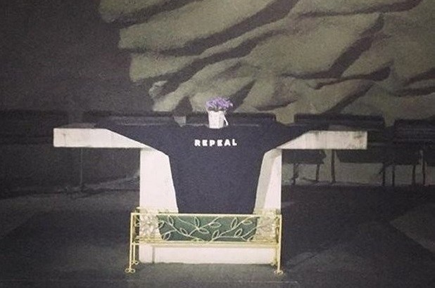 Pro-choice jumper placed on sacred altar is 'polarising'