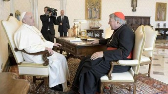 Pope Francis receives Cardinal George Pell