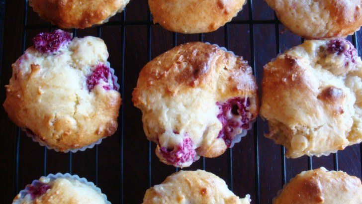 Delicious white chocolate and raspberry muffins