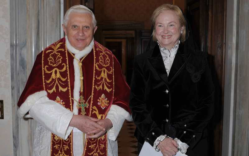 Pope Benedict XVI meets U.S. Ambassador to the Holy See Mary Ann Glendon during a private audience at the Vatican on February 29, 2008. (OSSERVATORE ROMANO/AFP/Getty Images)