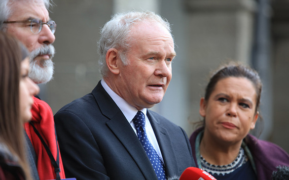Martin McGuinness speaking outside the Dail in Dublin.