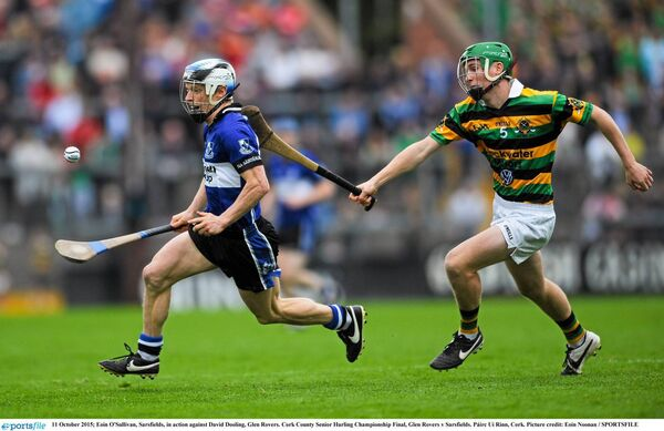 Eoin O'Sullivan, Sarsfields, in action against David Dooling, Glen Rovers, in October 2015. Picture: Eoin Noonan /Sportsfile