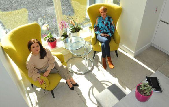 Carol O'Callaghan, interiors columnist and stylist, with interior designer Sinead Cassidy.