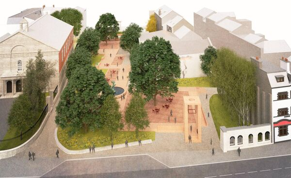 An aerial view of Bishop Lucey Park and South Main Street from the newly-revealed plans.