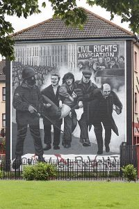 Mural in Derry memorializing the Bloody Sunday massacre of civil rights protesters