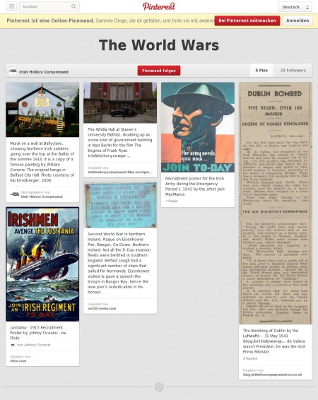 A screenshot of the Ireland in the World Wars board on Pinterest.com